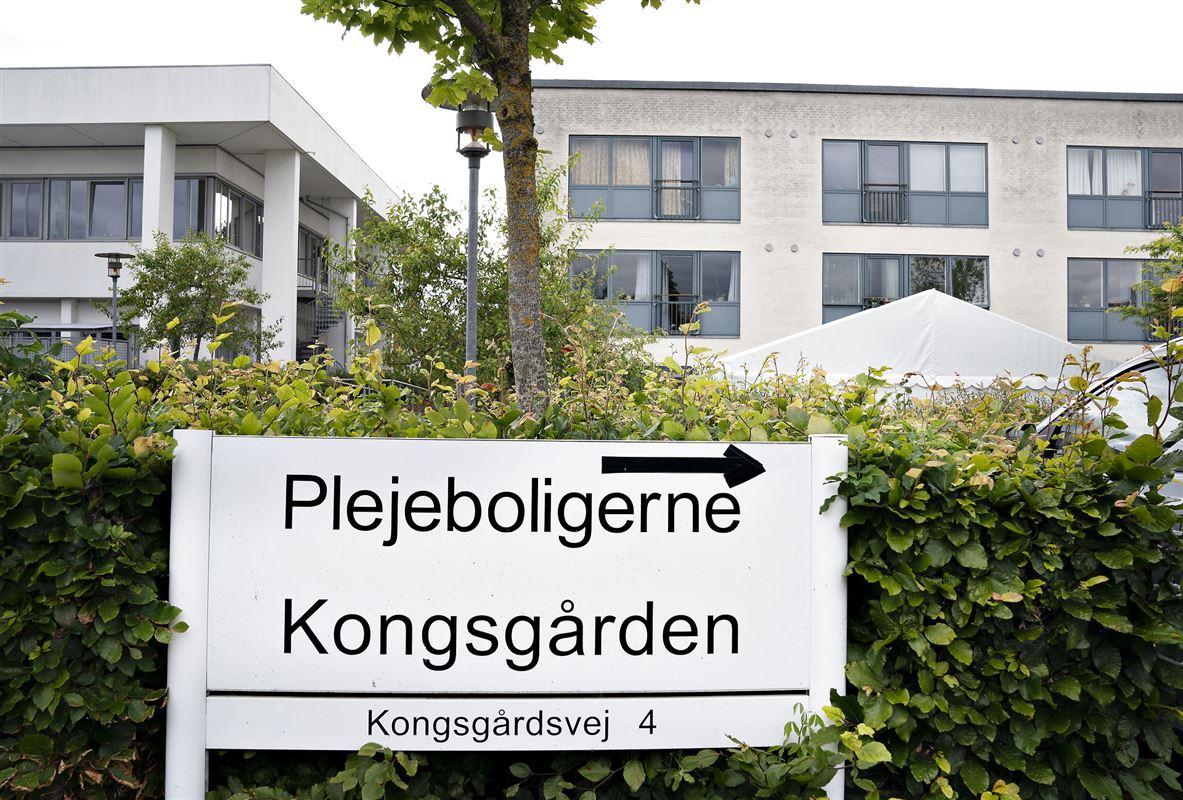 et skilt foran plejecentret Kongsgården i Aarhus