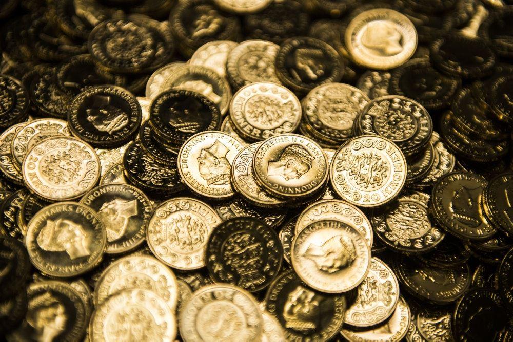 Guldmønter i hobe