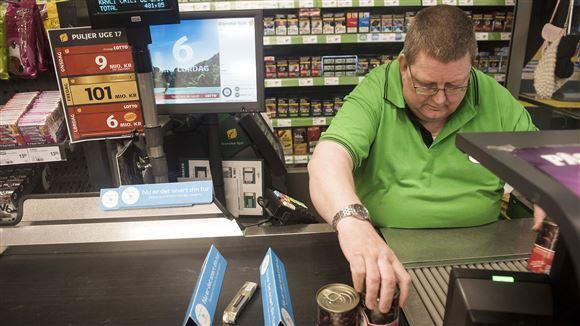 kasselinjen i et supermarked
