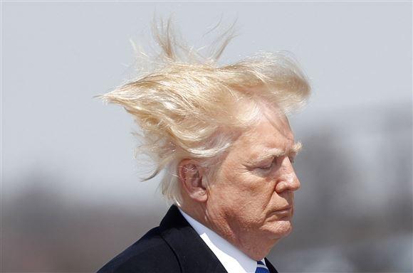 Den amerikanske præsident Donald Trump i blæsevejr
