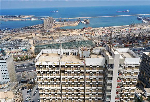 Ødelagte områder i Beirut set fra luften efter eksplosion