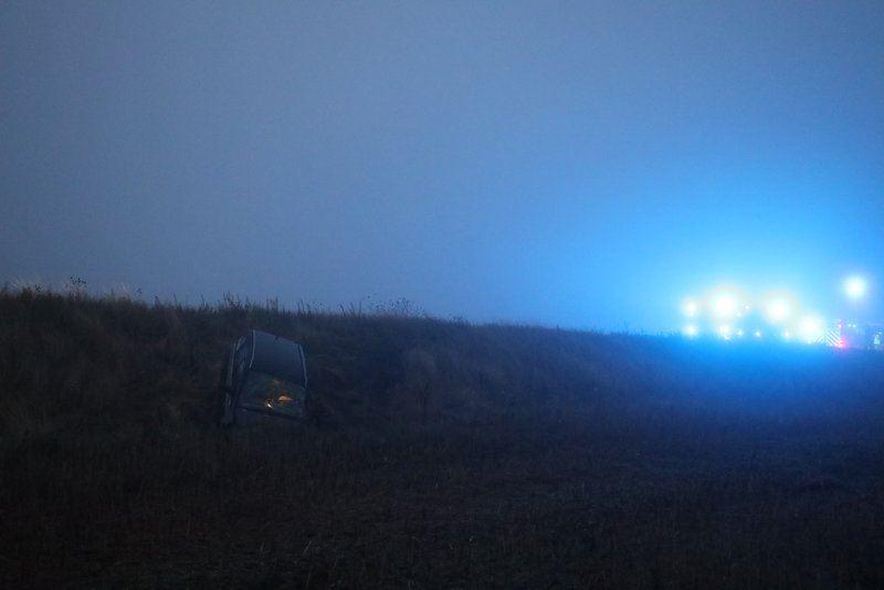 bil i grøft efter færdselsuheld ved Aarhus