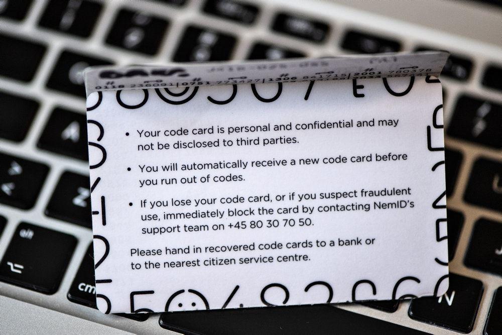 Kort med koder til NemID