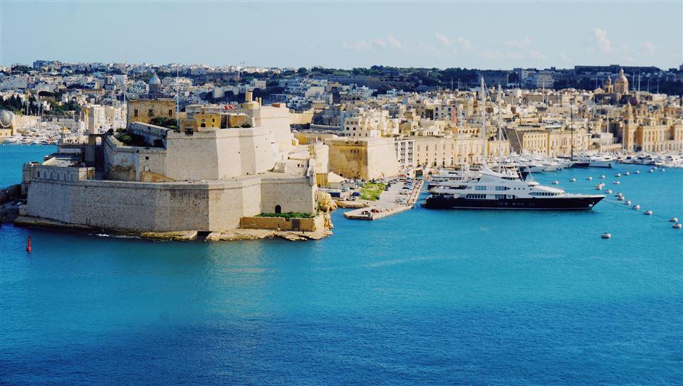 Luftfoto over Maltas havn
