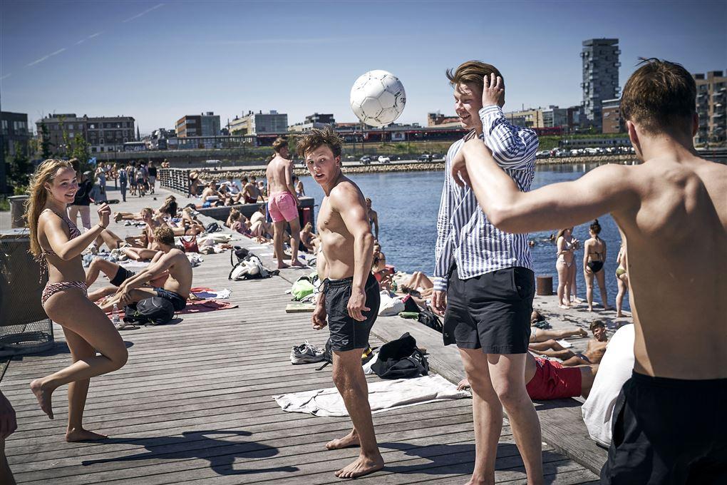 Unge mennesker samlet ved havnebad i Københavns Nordhavn