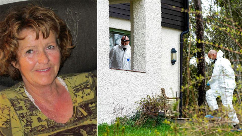 Portræt af Anne-Elisabeth Hagen og politi ved Hagens hus