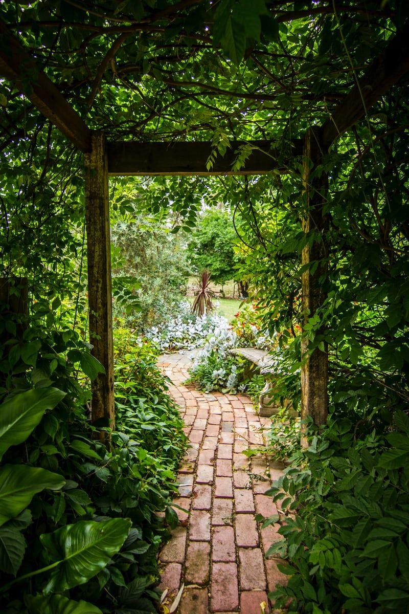 En smuk stengang igennem en meget frodig have