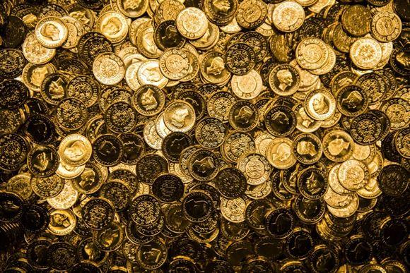 Billede af en masse mønter