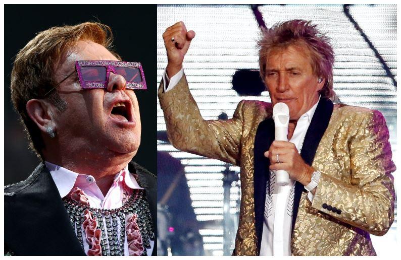 Elton John og Rod Stewart i et sammensat billede