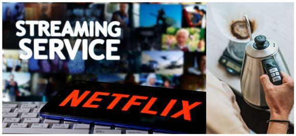 Netflix på skærmen og en elkedel