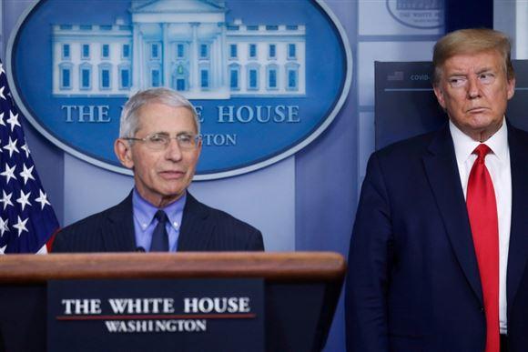 Trump og Fauci på pressemøde
