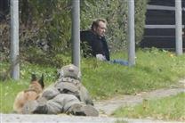 Peter Madsen sidder i en grøft op ad en hæk mens en skarpskytte holder ham i skak.