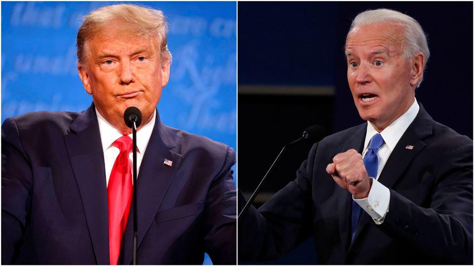 Donnald Trump til højre han ser lidt sammenbidt ud. Joe biden til venstre med åben mund