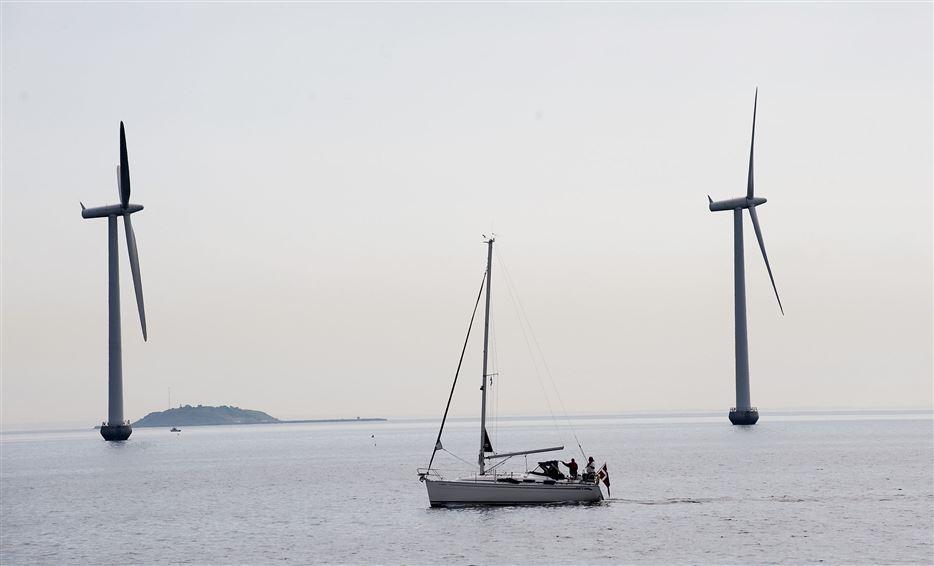 båd sejler forbi vindmøller