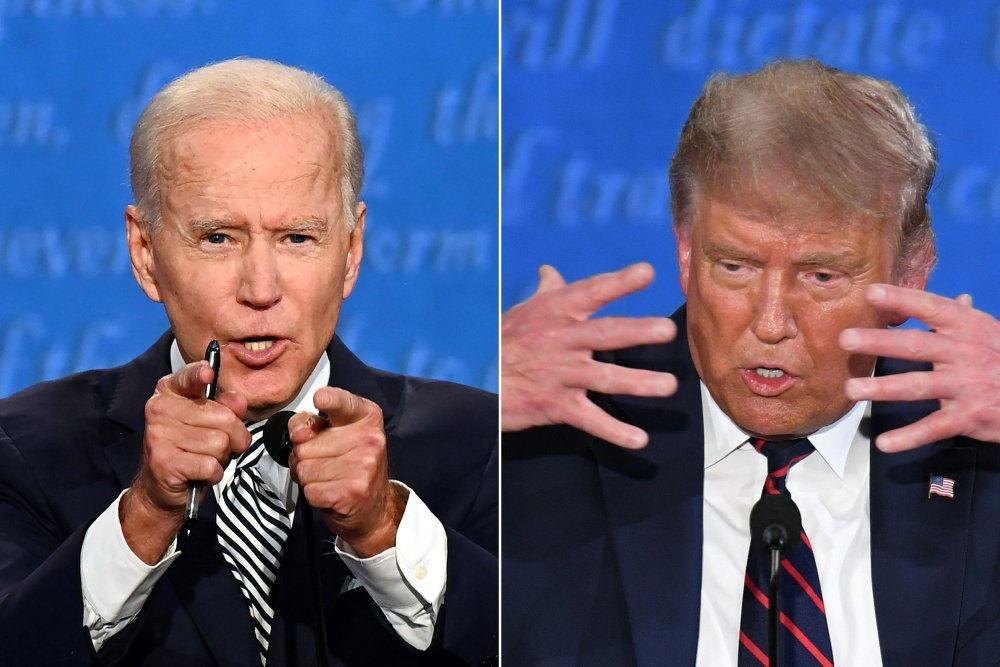 Sammensat foto af præsidentkandidaterne Joe Biden og Donald Trump
