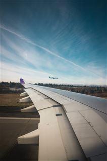Et fly på vej til at lette og et i luften