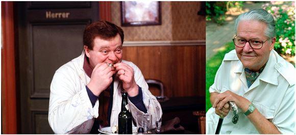 Benny Fede spiser flæsk i Matador og et billede af en ældre Poul Bundgaard