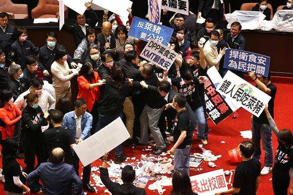 Politikere kaster med indvolde og holder protestskilte oppe i det, der svarer til folketingssalen i Taiwan.