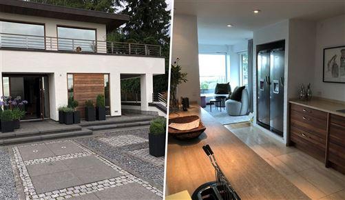 To sammensatte billeder af sommerhuset. Et udefra; huset er hvidt med store vinduer og en snorlige indkørsel. Indefra køkkenet; man kan se der strømmer fint lys ind igennem huset, der er dyrt indrettet.
