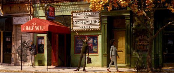 billede fra tegnefilm - en mand står på gaden med en taske i hånden