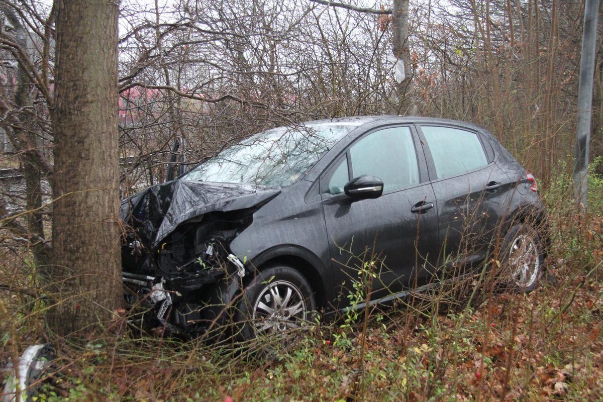 En sort bil smadret ind i et træ