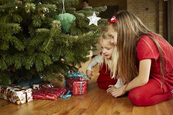 to børn sidder og kigger på gaver under træet