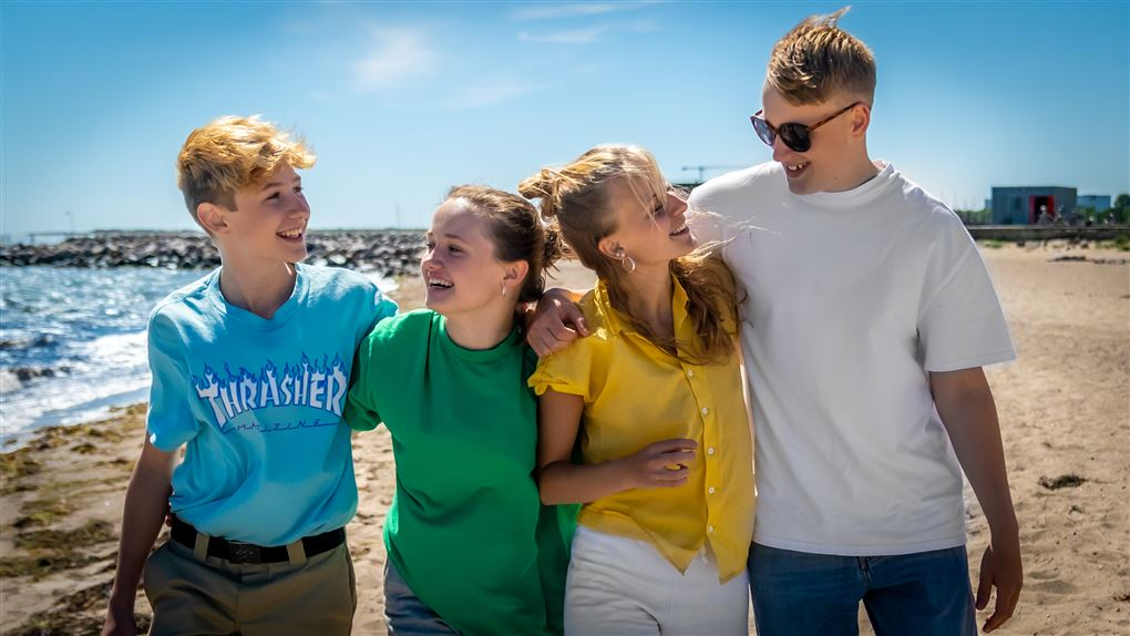 Fire unge mennesker på en strand