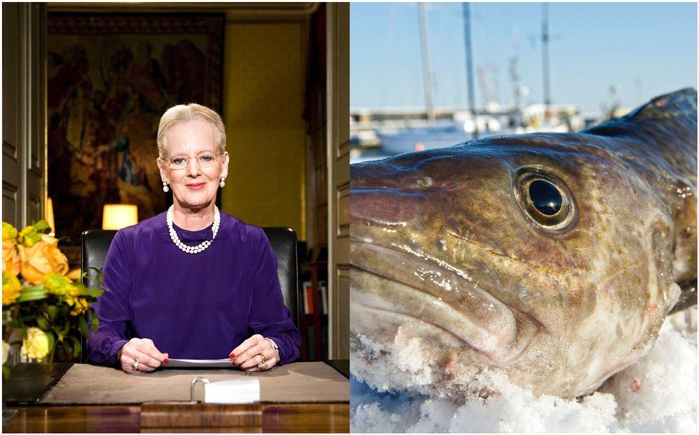 Billede af dronningen og en torsk