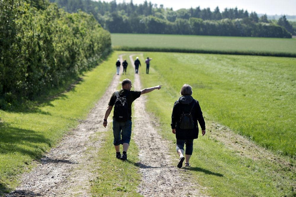 Personer går på en markvej