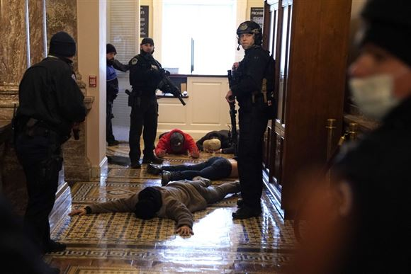 politi tilbageholder demonstranter inde i den amerikanske kongres