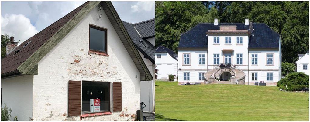 Et faldefærdigt hus og en kæmpe villa