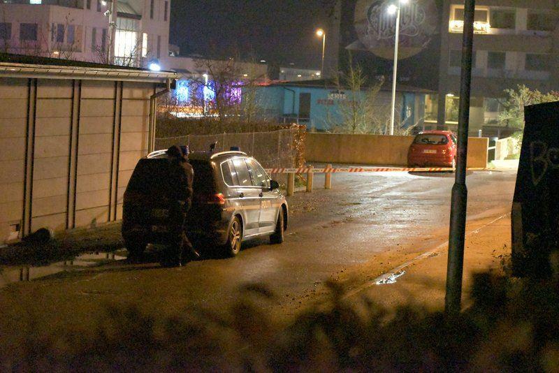 politibil holder på mørk vej