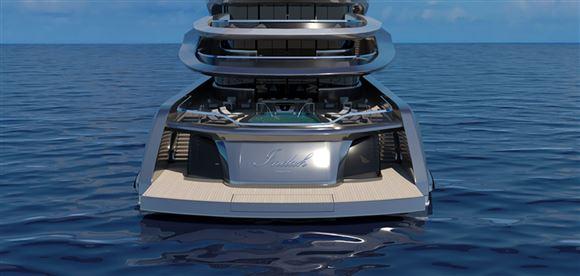 En yacht bagfra