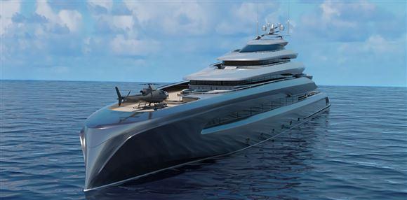 En kæmpe yacht forfra med helikopter på dækket