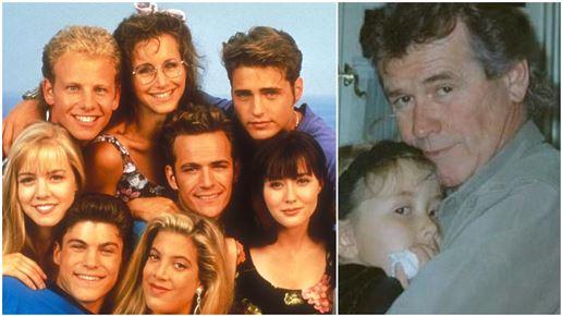 Sammenkopieret billede af Beverlyhills 90210 og John Reilly  med datteren Caitlin Reilly