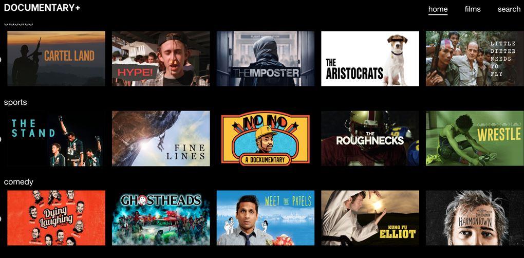 En skærm med et væld af dokumentartilbud