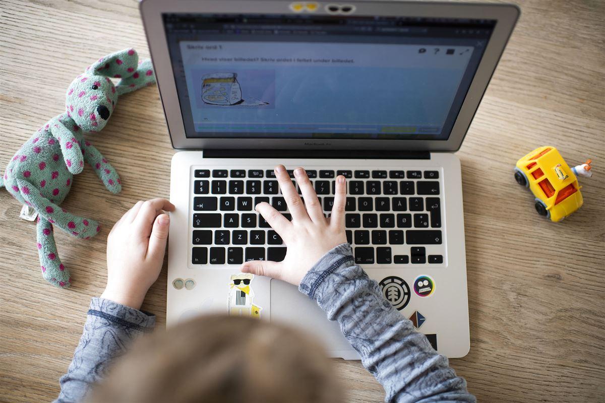 Barn sidder foran computer