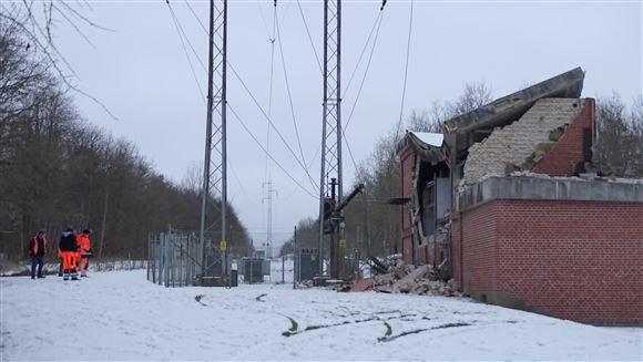 billede af den ødelagte transformerstation