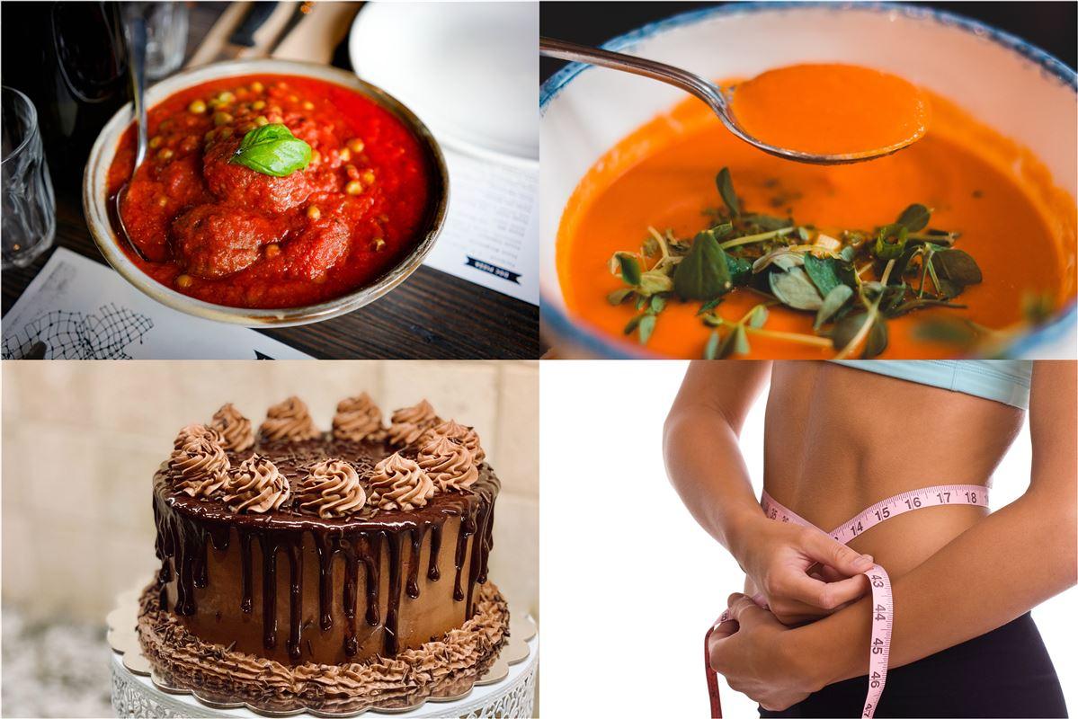Fire billeder af hhv. en suppe, kødboller, en kage og en kvinde, som måler sin talje