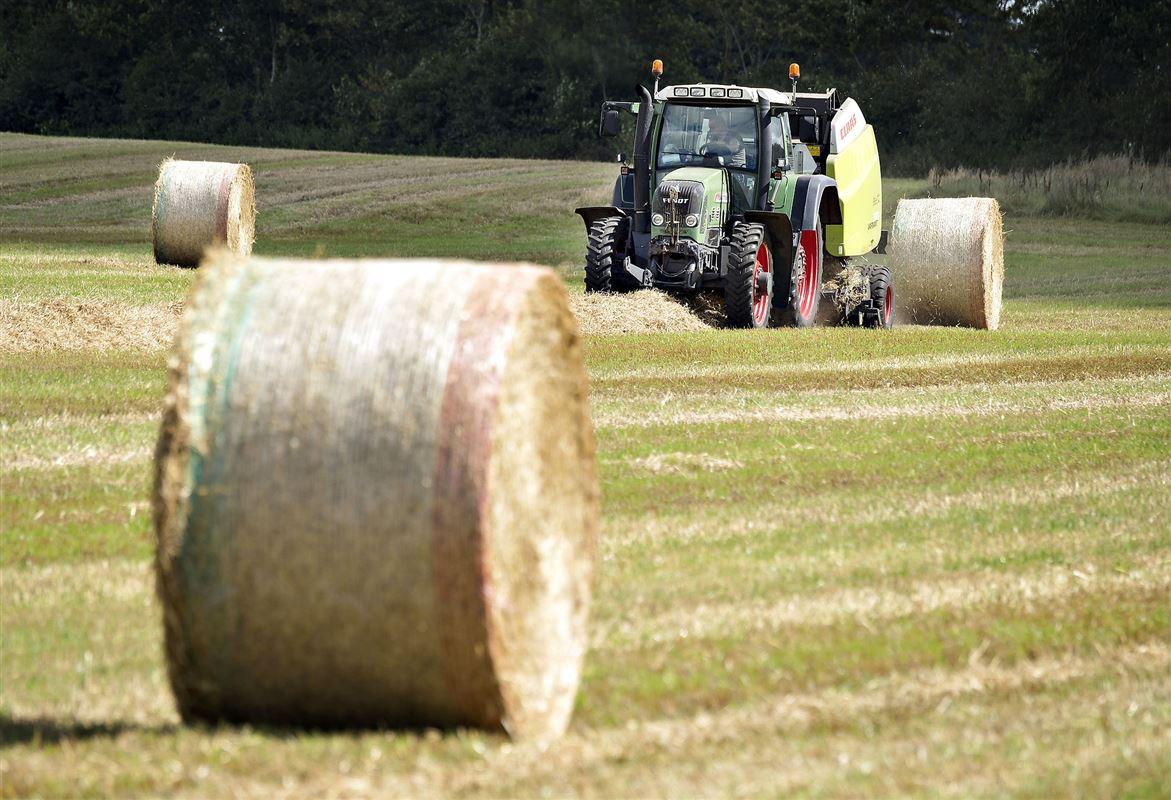 En traktor på marken med bigballer