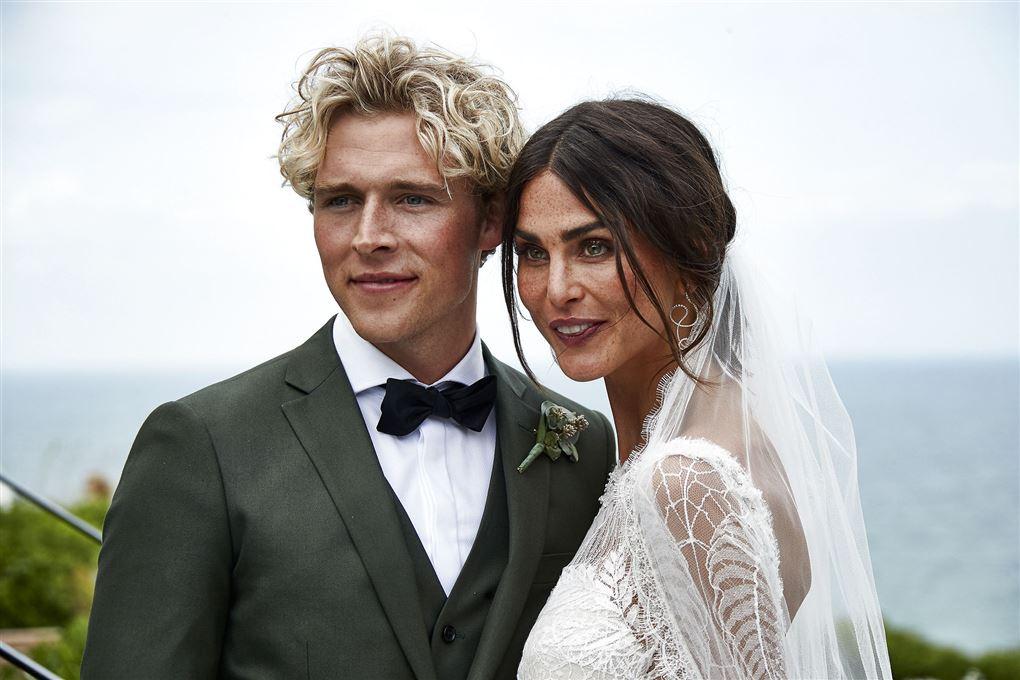 Christopher og Cecilie på deres bryllupsdag