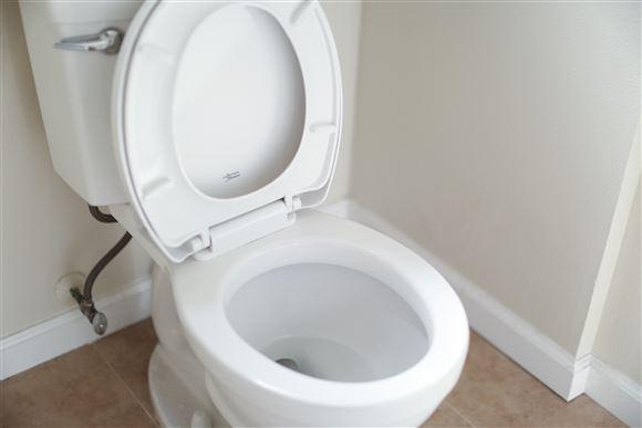 Et toilet med opslået bræt.