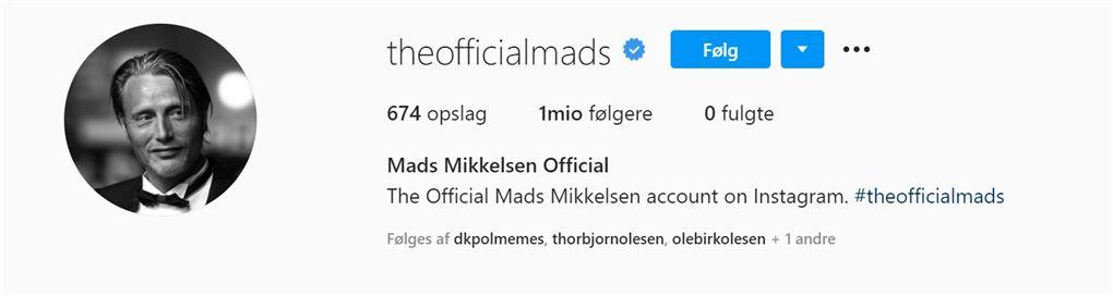 billede af Mads Mikkelsens instagram-profil