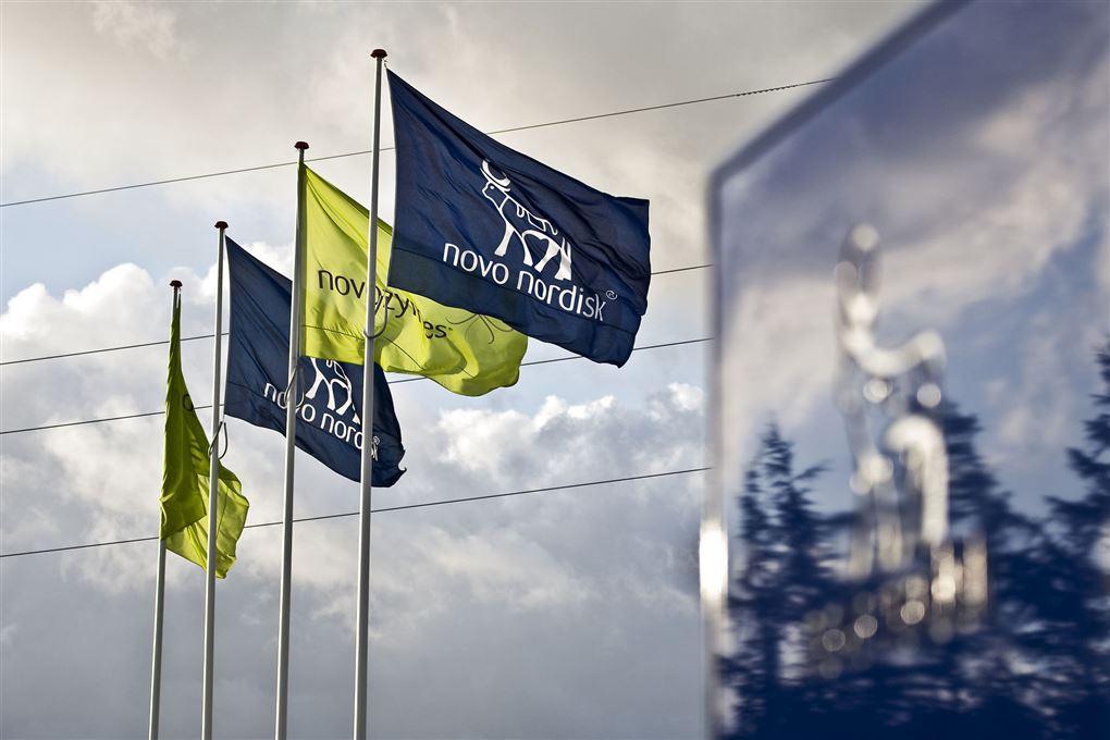 fire flag med logoer fra novo nordisk og novozymes