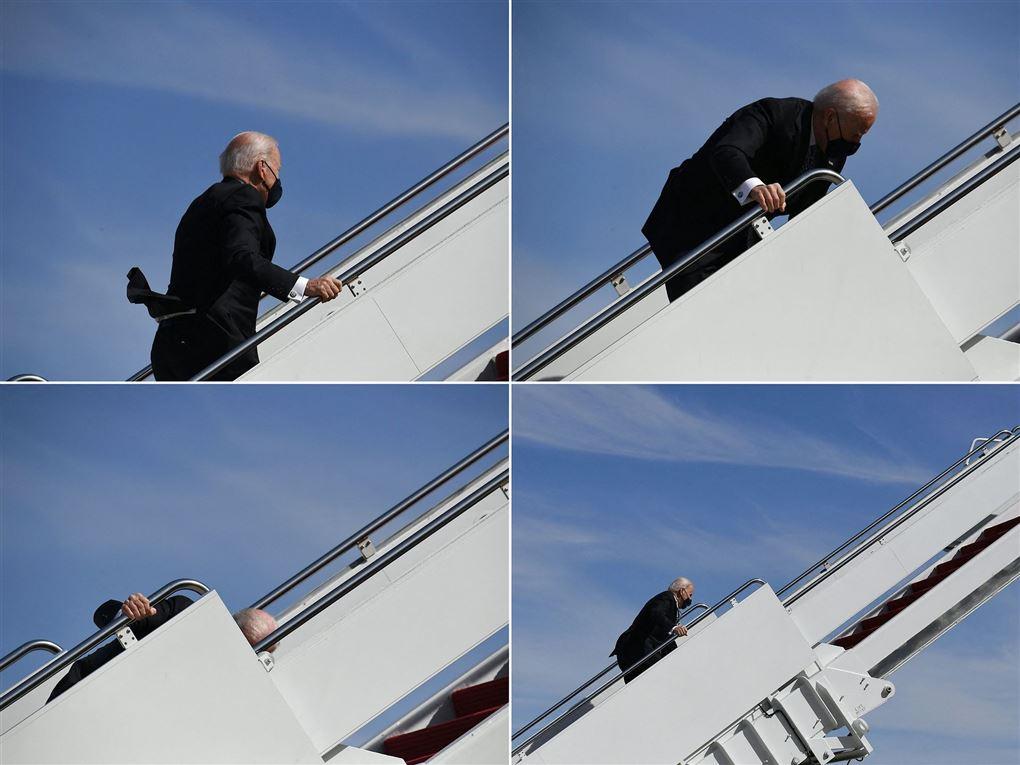 Collage af Biden på vej ombord på fly
