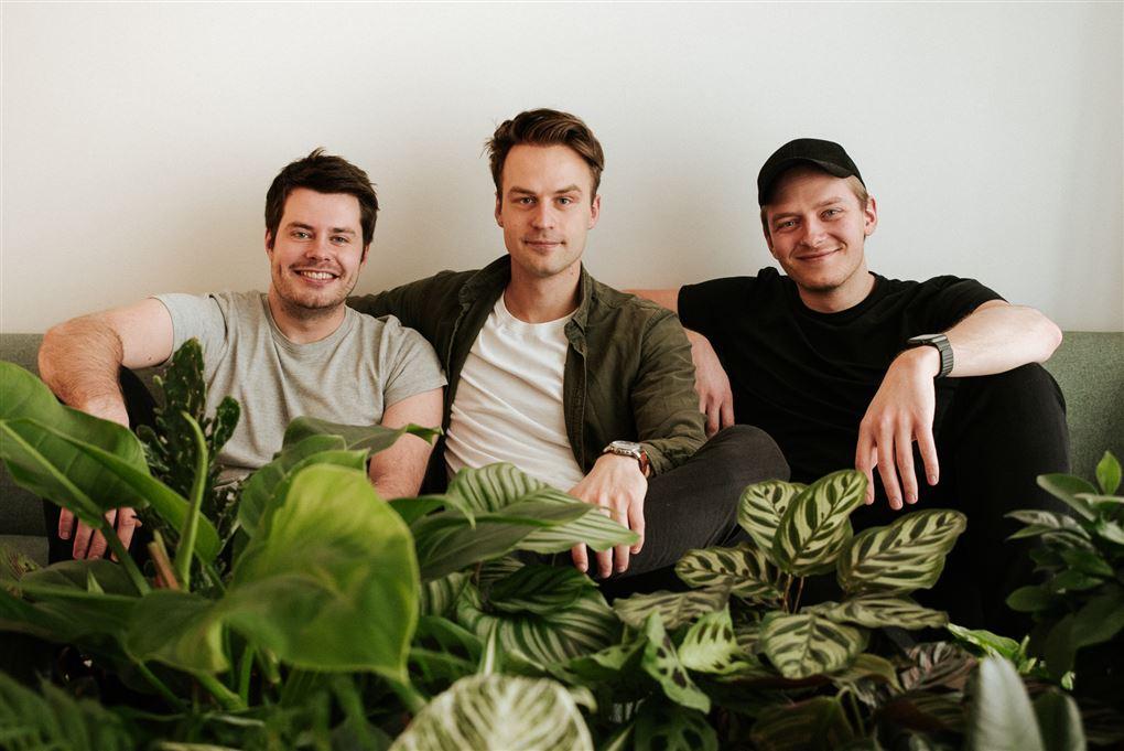 Tre unge mænd i en sofa med planter foran dem