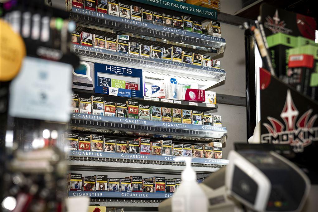billede af tobak som vises i en butik i dag