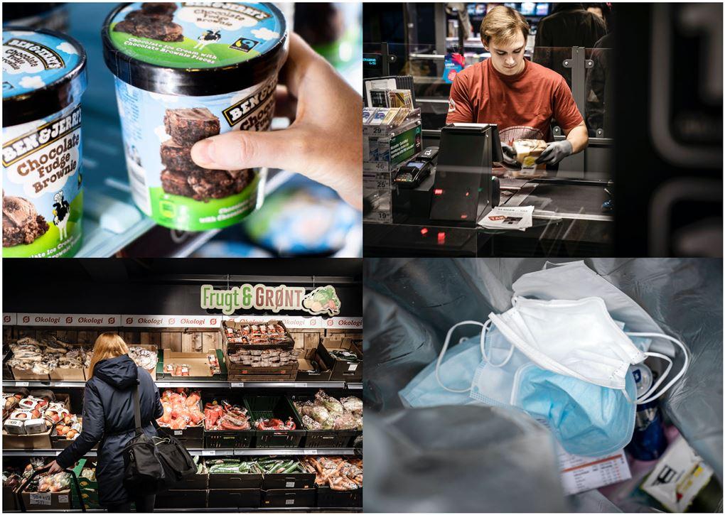 Potpurri af fire billeder med is, mundbind, grøntafdeling og en kassemedarbejder