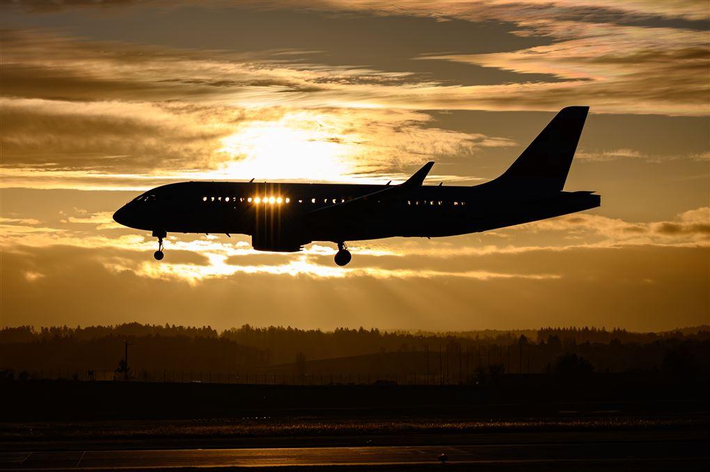 fly i luften i solnedgang