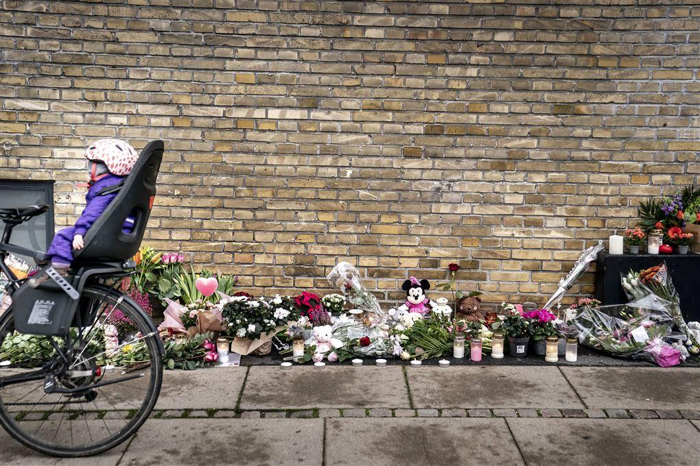 cykel med barnestol kører forbi blomster på fortov